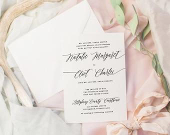 The Natalie Suite | Wedding Invitation Suite, Wedding Invitation, Romantic Wedding Invitation, Calligraphy Wedding Invitation