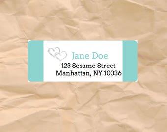 30 Custom Return Address Labels Printed (SET OF 30) rectangular 2 5/8 x 1 inch label, sticker, wedding announcements, silver heart teal