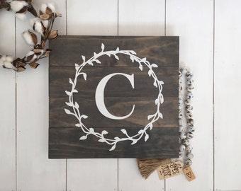 Monogram Last Name Sign, Personalized Initial Sign, Personalized Wedding Gift, Monogram Wood Sign, Farmhouse Decor, Farmhouse Home Decor