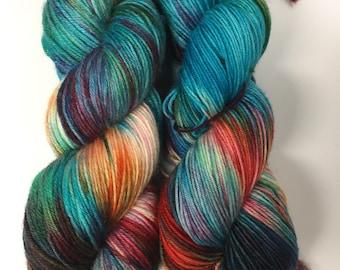 hand dyed yarn, handdyed yarn, hand dyed sock yarn, handdyed sock yarn, hand painted yarn, fingering yarn, BFL yarn, cashmere, Paradise