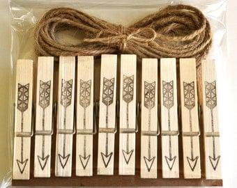 Arrow clothespins, bohemian arrow pegs, tribal arrow stamped, hand stamped, boho photo garland, photogarland arrow, tribal clothespins