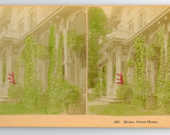 Stereoview Card #4837 Home Sweet Home, Colorized, B.W. Kilburn