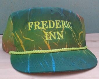 """Killer 80's / 90's Crazy Paint Splatter Neon """"Frederic Inn"""" Strapback Hat Cap"""