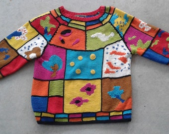 Vintage 80's / 90's Super Colourful Knit Abstract Textured Sweater Made by FUNSPORT / Women's Small
