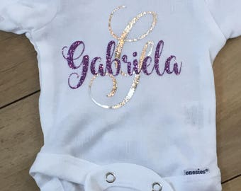 New Baby Gift Personalized - Monogram Baby Onesie - Baby Sparkly Clothes