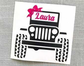 Jeep Decal, YETI Decal, Jeep Bow Name Decal, Monogram Decal, Jeep, Car Decal, Yeti Decal, Tumbler Decal, Laptop Decal, Jeep Sticker
