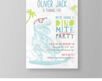 Dinosaur Birthday Invitation | Cool Surfer Dino Party Invite | Printable | Boy Birthday | Instant Download | 100% Editable | Templett 043BBD