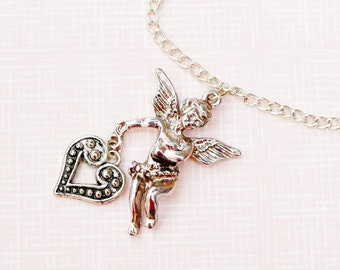 Cherub necklace, cupid necklace, angel necklace, lovers gift, Valentines day gift, romantic, cherub pendant, gift for her, sweetheart
