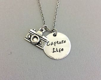 Capture Life Necklace, Camera Necklace, Photografer Jewelry, Hand Stamped Necklace, Camera Charm, Wedding Photografer Gift