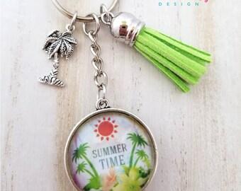 Summer Time Keychain-I Love Summer Keychain-Palm Tree Keychain-Summer Lover-Tassel Keychain-Double side Keychain-Tassel-Tropical Collection