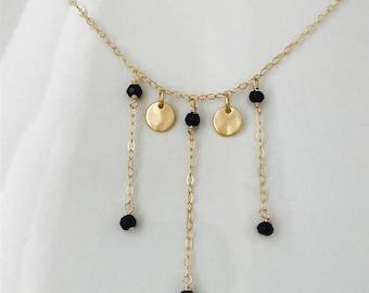 Black Tourmaline Necklace Tourmaline Necklace October Birthstone Turquoise Garnet Necklace Gold Coin Necklace Healing Necklace Boho Necklace