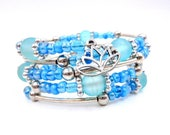 Blue and silver memory wire bracelet, blue wrap bracelet, blue bracelet, lotus bracelet, lotus jewelry, blue lotus bracelet, charm bracelet