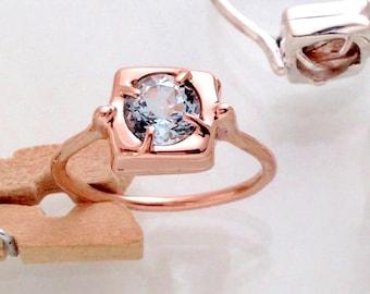 Cake Ring - morganite/aquamarine/semi-precious gems + silver/rose gold - solitaire ring design - camille hempel design