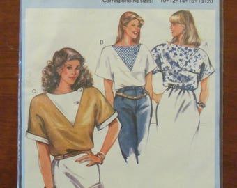 BURDA DRESSMAKING PATTERN - 6899 Ladies Blouse, Top, Batwing Sleeves, Front V Insert Sizes 10 - 20, New & Uncut