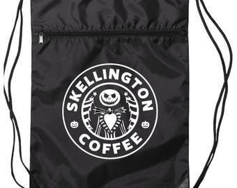 Jack Skellington Coffee Drawstring Bag - Disney Bag - Jack Bag - Sally Bag - Disneyland