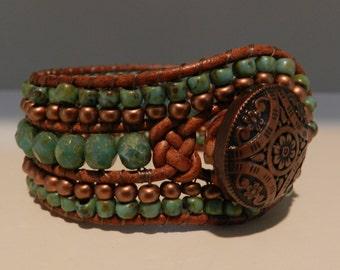 Cuff Leather Bead Bracelet