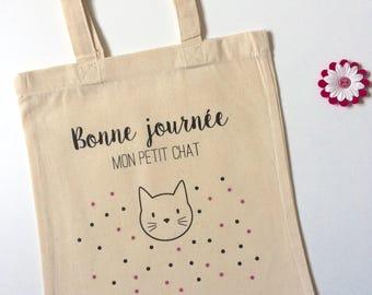 Mini tote bag - cat