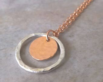 Rose gold necklace, circle necklace dainty, silver circle necklace, rose gold necklace gift for her, girlfriend gift ideas, for women