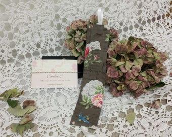 Bookmark fabric roses romantic John C.