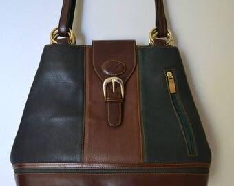 Vintage Leather Tan Black Leather Shoulderbag Handbag