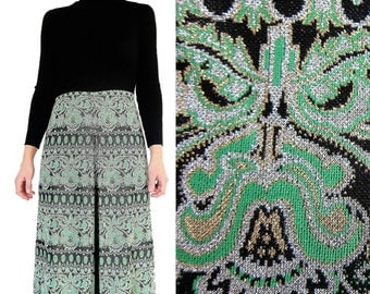 Devernois Vintage 70s sweater dress s Black Green Gold Silver Boho 1970