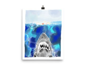 Jaws Inspired Watercolor Print/Poster - 8x10