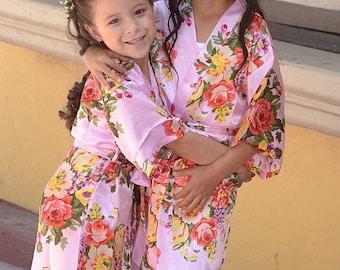 Children's Satin Robes, Girl's Floral Robes, Easter Basket Filler, Toddler Girl Gift, Wedding Robe For Kid