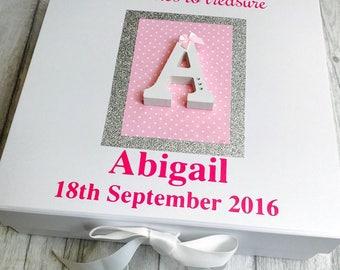 Personalised Baby Keepsake Memory Box, Memories to Treasure, Pink, Blue, Silver, Polka dot, Diamante, Newborn, Present, Gift, Love
