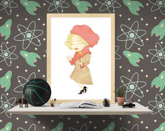 Download and print Queenie Goldstein. Printable mini poster for Fantastic Beasts and where to find them lovers. Children room decor.