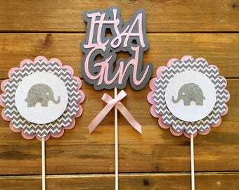 Elephant Centerpiece, Elephant Cake Topper, Elephant Baby Shower, Girl Elephant Baby, Baby Shower, Elephant Decorations, It's a Girl, Pink