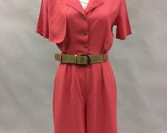 Hot Pink Romper 1980s | Size Small 6 | Military | Trench Coat Style | 1980s does 1940s