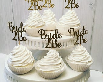 Bride 2 Be cupcake toppers, bridal shower cupcake topper