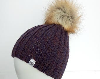 IN STOCK, purple 100% wool hat, adult size, removable faux fox fur pompom, handmade crocheted winter hat, women hat, snap fastener