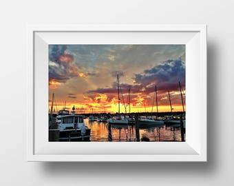 Sky On Fire | Sunset Digital Print | Sunset Photography | Orange Skies | Sailboats | Summer Skies | Summer Sunset | Wall Art | Framed Photo