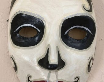 Hand Painted Day of the Dead Paper Mache Mask 1920's