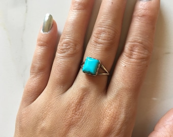 Vintage Sterling Silver + Turquoise Square Women's Ring size 6