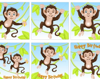 Monkey Clipart PNG / JPEG  Commercial Use. Scrap booking. Digital 300dpi. Jungle Clipart. Animal Clipart Monkey Clip Art. Monkeys Clipart