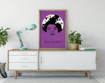 """Michael Jackson Wall Art """"Heal the World"""" - Poster - Graphic Design - Music Poster - Gift"""