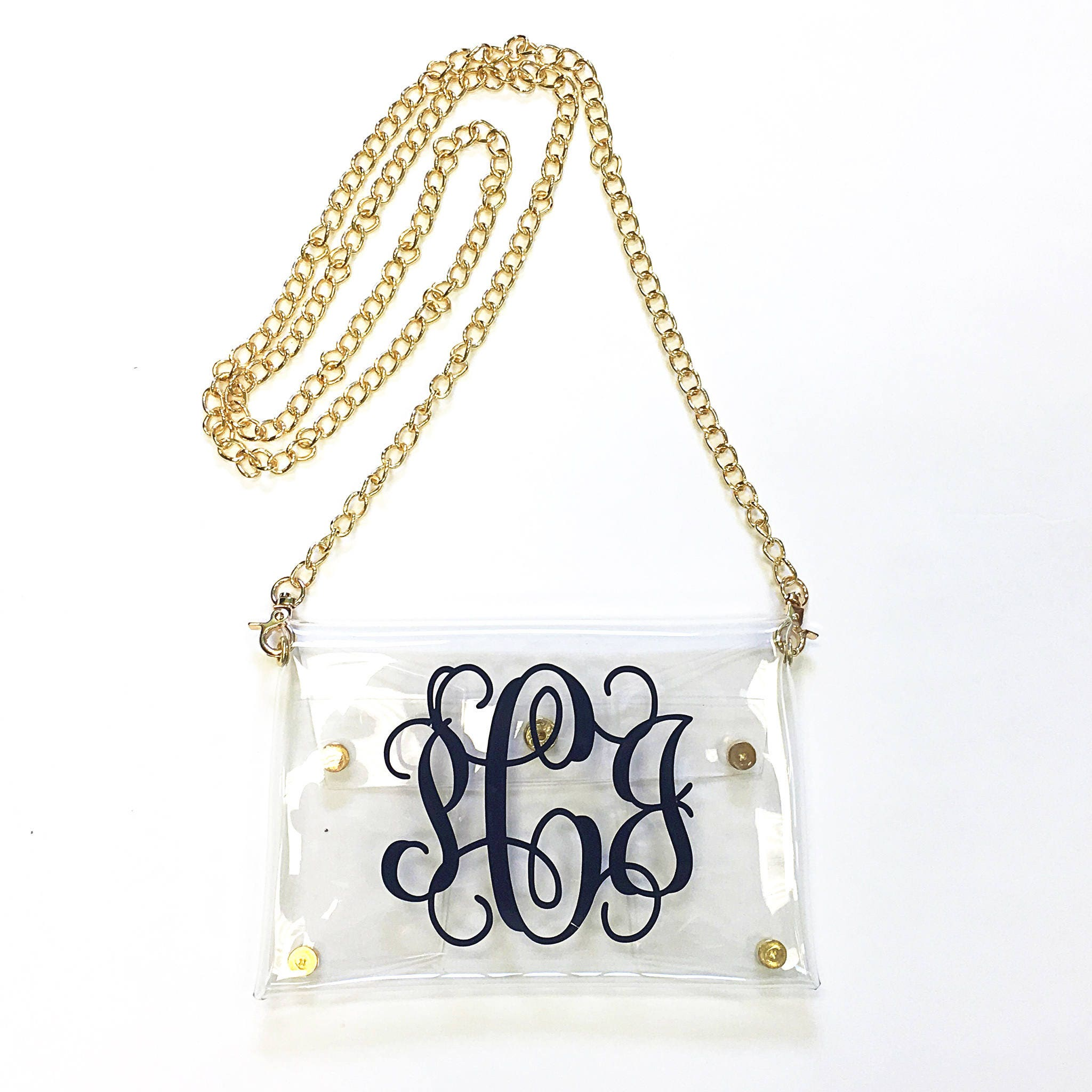 personalized  monogrammed clear stadium game day clutch  cross
