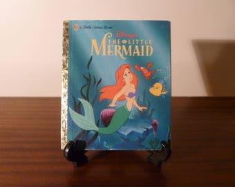 "Vintage 1997 Walt Disney's ""The Little Mermaid"" - A little Golden Book / Kids Book / Great Condition / Ariel Flounder Sebastian"