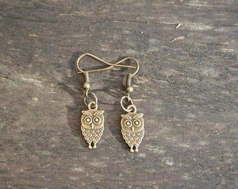 Bronze owl, OWL earrings, handmade by myself / owl bronze Earrings