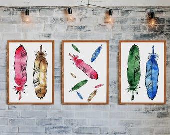 Digital print Watercolor Feathers set of 3 | Fine Art Print, Instant Download, Watercolor Print, Home Decor, Wall Art, Decor, triptych