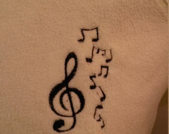 Embroidered Musical Notes 1/4 Zip-Up Sweatshirt - Small