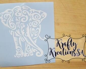 Yeti tribal elephant decal,Yeti elephant decal,elephant macbook,elephant tablet decal,elephant tumbler decal,tribal vinyl elephant decal
