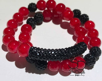 10mm Red Jade Style Glass Beaded Bracelet set with Black Pave tube and accents
