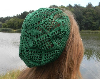 St Patrick Day party green beret Summer beanie Crochet lace hat Paddy's Day dark green hat cotton hat gift for girlfried summer accessories