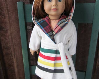 "18"" Doll Hudson Bay Blanket Coat Replica, Hooded, Boy or Girl Doll Coat., Traditional Cream- Native American Coat American Girl Kaya,  Logan"