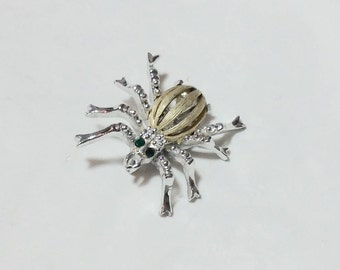 Vintage Silver and Gold Tone Spider Pin