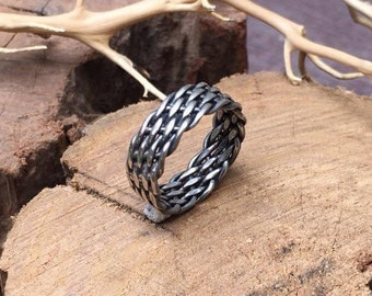 Sterling Silver Ring, Gift for her, Gift for him, Ring for woman, Ring for man, Oxidized silver ring, Braided ring, Silver Ring