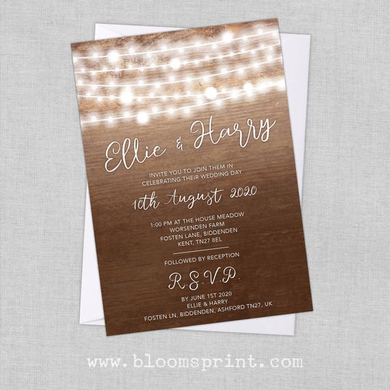 Rustic Wood Wedding Invitation, Country wedding invitation rustic, Summer wedding invitation template, Fairy lights wedding invite, A5